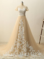 A-line Wedding Dress-Champagne Court Train Jewel Lace / Tulle