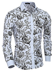 2016 Summer New Arrival Turn-down Collar Men's T-shirt Flower Printing Slim Fashion Long Sleeve Men Tshirt