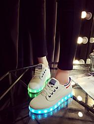 Para Meninas Feminino Para MeninosLight Up Shoes-Rasteiro-Preto Azul Verde-Courino-Ar-Livre Casual Para Esporte