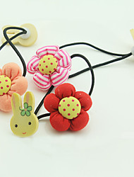 Pumpkin Flowers Wood Double Rabbit Hair Sell Like Hot Cakes Han Edition Children Hair Accessories Color Mixed 10 PCS