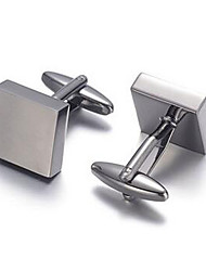 Men's Fashion Square Black Alloy French Shirt Cufflinks (1-Pair)