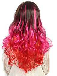 24 inch Women Long Deep Wave Curly Synthetic Hair Wig Rose Ombre Red with Free Hair Net