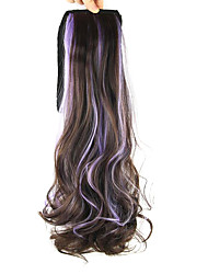 Length Light Purple Wig Ponytail Curly 55CM Synthetic Deep Wave High Temperature Wire Color Purple