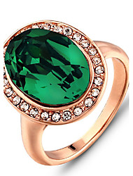 2016 Noble Rhinestone Luxurious Rose Gold Green Band Ring For Women