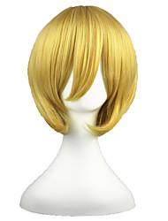 Cosplay Perücken Black Butler Belphegor Gold Kurz Anime Cosplay Perücken 35 CM Hitzebeständige Faser Mann / Frau