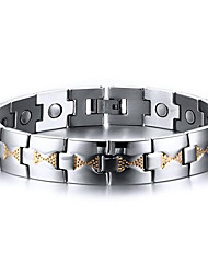 Men's Jewelry Health Care Silver Stainless Steel Magnetic Therapy Bracelet