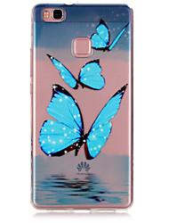 azul padrão de borboleta caso de telefone material de TPU para Huawei P9 / P9 Lite