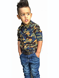 Boy's  Cotton Summer Spring/Fall Fashion Camouflage Blouse Cowboy  Trousers Two-Piece Set