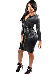 Women's Long Sleeve Sexy Slim PVC Dress Catsuit Clubwear