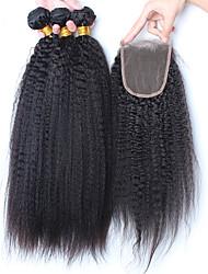 cabelo virgem brasileiro com fechamento fechamento com 3 pacotes excêntricas reta com feixes de fechamento de cabelo humano com fechos