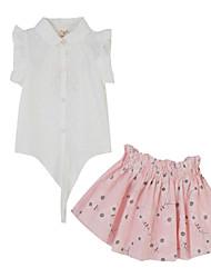 Girl's White Clothing Set,Print Cotton Summer