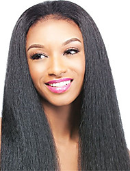 Italian Yaki Wig Natural Light Kinky Straight 100% Virgin Brazilian Human Hair Lace Front Wigs with Baby Hair