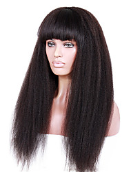 14-18inch Braizlian virgin remy human hair Kinky straight with full bang glueless lace front wigs for African Americans
