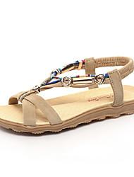 Zapatos de mujer-Tacón Bajo-Punta Abierta-Sandalias-Exterior / Vestido / Casual-PU-Negro / Rojo / Beige