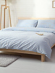 Blue plaid Washed Cotton Bedding Sets Queen King Size Bedlinens 4pcs Duvet Cover Set