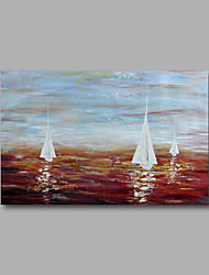 "Stretched (Ready to hang) Hand-Painted Oil Painting 36""x24"" Canvas Wall Art Modern Abstract Seascape Boats"