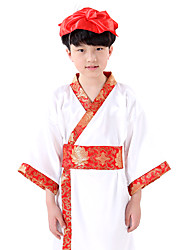 Performance Dresses Children's Performance Cotton Pattern/Print 1 Piece White Folk Dance Long Sleeve Dress