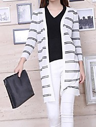 Women's Striped White / Black Cardigan,Street chic Long Sleeve