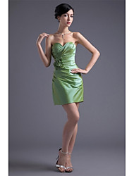 Cocktail Party Dress Sheath / Column Sweetheart Short / Mini Taffeta with Flower(s) / Side Draping / Pleats