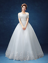 Ball Gown Wedding Dress Floor-length Off-the-shoulder Lace / Satin / Tulle with Appliques / Lace