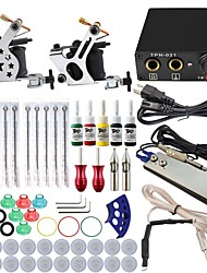 Professional Complete 2 Gun Tattoo Machine Kit 5PCS Ink Power Supply Needle Grips Tips