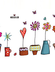 Colorful 6 Potted Flower With Butterfly Wall Stickers Bedroom Glass PVC Wall Decals Removable