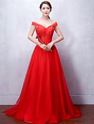 Vestido de baile vestido v-neck comprimento do chão laço vestido de noite formal de tule com curativo