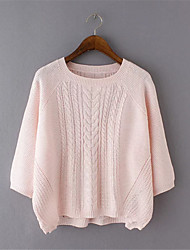 Pullover Aux femmes ½ Manches Street Chic Polyester Fin