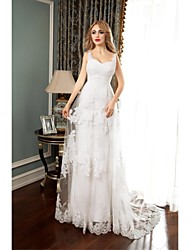 A-line Wedding Dress Court Train Spaghetti Straps Tulle with Appliques