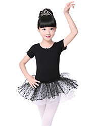 Ballet Dresses Kid's Cotton Bowknot 2 Pieces Short Sleeve Dress Headpieces