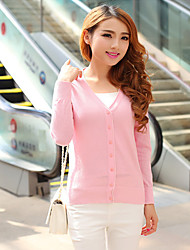 Women's Solid Pink Cardigan,Street chic Long Sleeve