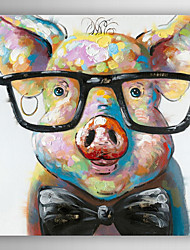 Hand Painted Oil Painting Animal Smart Pig with Stretched Frame