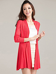Women's Casual/Plus Sizes Stretchy Medium Long Sleeve Cardigan (Cotton/Knitwear)SF7E02
