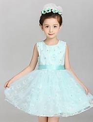 Vestido Chica de-Verano-Algodón / Lino-Verde / Rosa