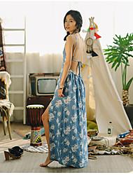 De las mujeres Recto Vestido Sexy Floral Maxi Con Tirantes Poliéster