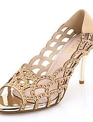 Women's Shoes Fabric Stiletto Heel Heels / Peep Toe / Open Toe Sandals Party & Evening / Dress / White / Gold