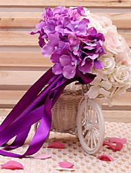 Fleurs de mariage Rond Forme libre Roses Lis Bouquets Mariage Satin Soie Env.23cm