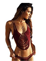 Women Knitted Swimsuit Bikini Beach Fringed Suit