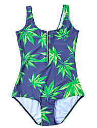 Women's Bandeau One-piece,Floral Polyester Green
