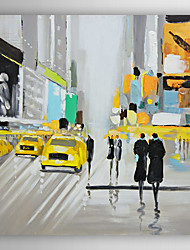Hand Painted Oil Painting  Landscape People Walking in Times Square-Ⅰ with Stretched Frame 7 Wall Arts®