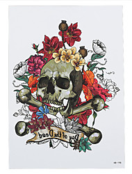 8PCS Waterproof Fake Temporary Tattoo Sticker Flower Death Skull Body Shoulder Art Tattoo for Women Men New Arrival
