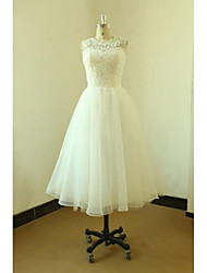 A-line Wedding Dress Knee-length Jewel Lace / Organza with Lace