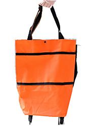 Folding Tug Bag Vehicle Hide Wheeled Travel Bag Tension Bar Cart Trolley Shopping Bag Oxford Shoulder Bag
