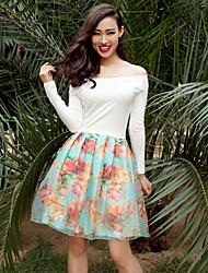 VERRAGEE® Women's Bateau Long Sleeve Knee-length Dress-H034