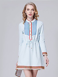 Women's Going out Street chic Shift Dress,Patchwork Stand Above Knee Long Sleeve Blue Polyester Summer