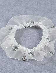 Strumpfband Stretch-Satin / Spitze Perlenstickerei Elfenbein