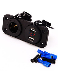 12V Charger Plug Motorbike Motorcycle Car Cigarette Lighter Socket Power Outlet Plug And 4.2A dual USB Voltmeter Socket
