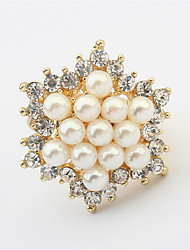New Korean Elegant Women Ladies Gold Plated Lovely Girls Simulated Pearl Flower Ring Women's Jewelry
