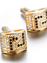 Unisex Fashion Crystal Gold Alloy French Shirt Cufflinks (1-Pair)