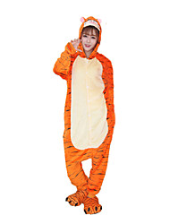 Kigurumi Pijamas Tiger Malha Collant/Pijama Macacão Festival/Celebração Pijamas Animal Laranja Miscelânea Flanela Kigurumi Para Unisexo